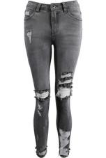 Grey Denim Shredded & Ripped Skinny Jeans