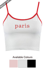 'PARIS' Embroidered Crop Top - 3 Colours