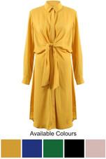 Long Wrap Tie Shirt Dress - 5 Colours