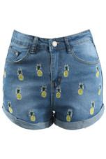 Pineapple Embroidered Denim Shorts - 2 Colours