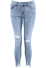 Light Blue Ripped Frayed Ankle Jeans