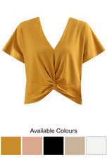 Ribbed Twist Front Top - 5 Colours