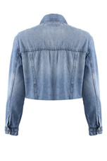 Washed Denim Cropped Jacket
