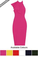 Pleated High Neck Midi Dress  - 6 Colours