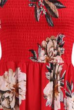 Red Floral Shirred Overlap Bardot Dress