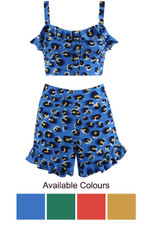 Leopard Print Crop Top & Flowing Shorts Co-Ord - 4 Colours