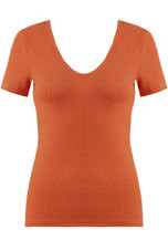 Ribbed Deep Neck Tops - 4 Colours