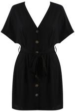 Button Tie Up Dress - 3 Colours