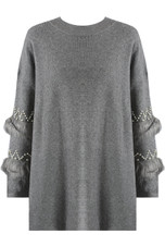 Pearl & Fur Sleeve Knitted Jumper - Mixed Colour Pack