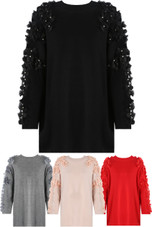 Flower & Stone Sleeve Knitted Jumper - Mixed Colour Pack