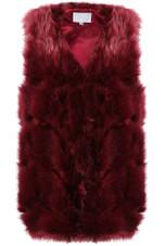 Layered Block Pattern Shaggy Fur Gilet