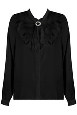 Frill Tie Up Neck Shirt - 2 Colours