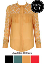 Pearls Cover Placket Button Through Shirt - 4 Colours