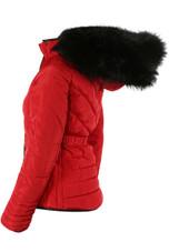Fur Hood Funnel Neck Jacket