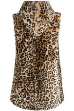 Leopard Shaggy Fur Gilet Hoodie