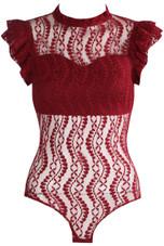 Ruffle Mesh Lace Up Bodysuit