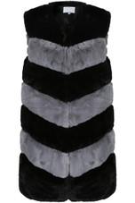 Multi Tone Tiers Pattern Faux Fur Gilet - 4 Colours
