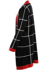 Square Check Long Open Cardigan - 2 Colours