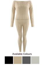 Cable Knit Off The Shoulder Jumper & Legging Co-Ord - 4 Colours