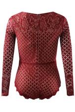 Scallop Lace Long Sleeve Bodysuit - 4 Colours
