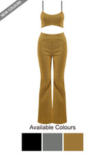 Lurex Cropped Cami & Bell Bottom Trousers Co-Ord - 3 Colours