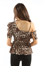 Leopard Frill Asymmetric One Shoulder Top