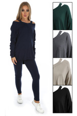 Scoop Neck Cut Shoulders Knitted Loungewear - Mix Colours Pack