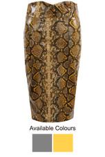 High Overlap Waist Snake Vinyl Skirt - 2 Colours