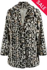 White Leopard Pattern Faux Fur Oversize Coat