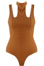 Ribbed Cut Out Choker Neck Bodysuit- 3 Colours