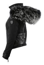 Black Real Fur Hood Funnel Neck Jacket