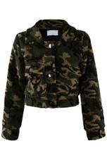 Camouflage Cropped Fur Jacket