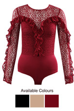 Mesh Frill Lace Overlay Bodysuit - 3 Colours