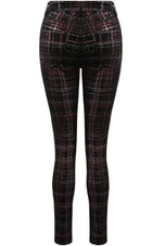 Black Overlay Check Printed Jeans
