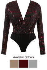 Sequin Textured Overlap Bodysuit - 3 Colours