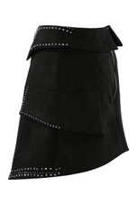 Studs Trim Collar Waist Overlap Skirt in Black