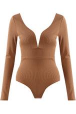 Plunge Neck Deep Back Bodysuits - 4 Colours