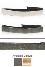 Crystal Sprinkle Webbing Buckle Belt - 2 Colours
