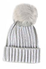 Faux Fur Pom Crystals Knit Beanie