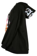 Badge Trim Black Label Hoodie in Black