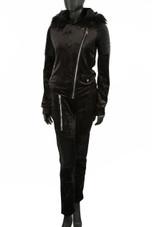 Fur Hood Velvet Zipper & Trouser Co-Ord