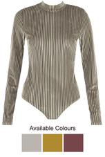 Velvet Stripes Mock Neck Bodysuit