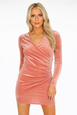 Wrap Over Velvet Dress- 2 Colours