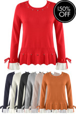 Pleated Cuffs Frill Hem Jumpers - Mix Colours Pack