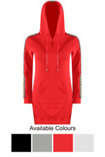 Knitted Lace Trim Sleeves Hooded Dress