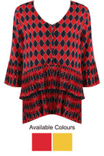 Rhombus Print Tier Hem Dress