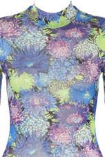 Mock Neck Sea Flora Print Bodysuit