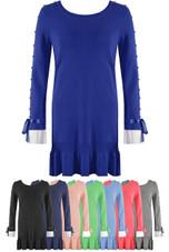 Pearls Trim Poplin Frill Hem Jumper Dress - Mix Colours Pack