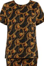 Black Chain Print Tops & Trouser Co-Ord