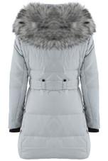 Fur Hood Zip Up Longline Puffer Coat in Grey